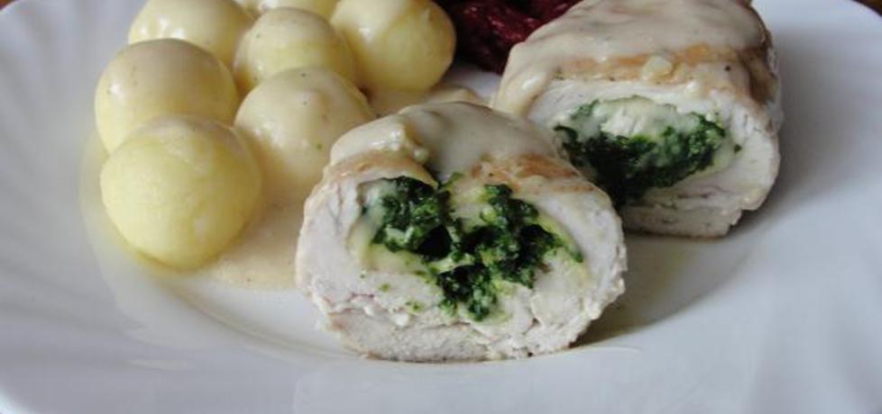 Roladki drobiowe z szpinakiem i mozzarellą w serowym sosie (autor ...