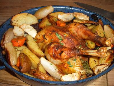 wsiowy kurczak pieczony z warzywami