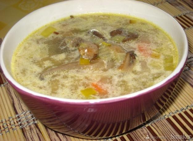 Zupa z boczniaków i pora.