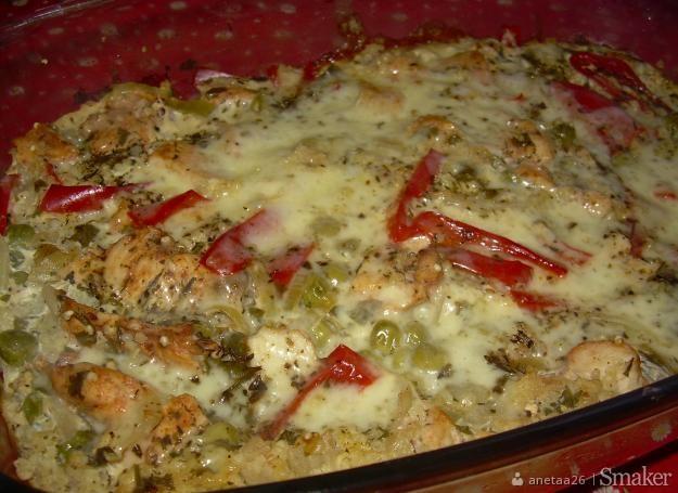 Zapiekanka z kaszy jaglanej, kurczaka i warzyw