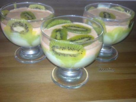 Przepis  zielono pomarańczowy deserek z kiwi przepis