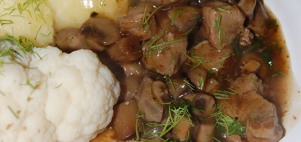 Gulasz z szynki wieprzowej z pieczarkami (autor: aleksandraolcia ...