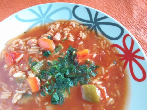 Przepis  zupa paprykowa z ryżem przepis