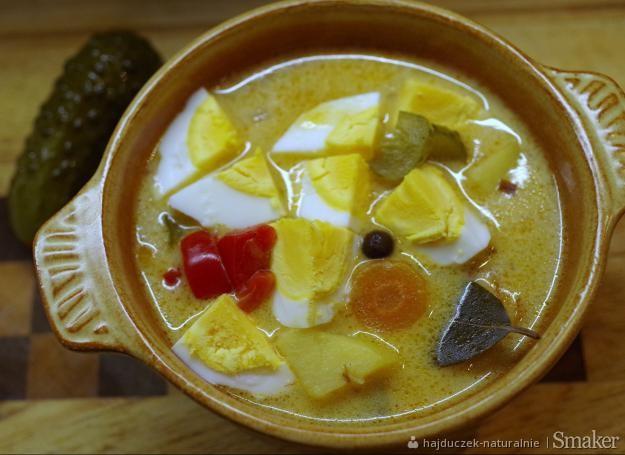 Zupa karpacka z kiszonym ogórkiem