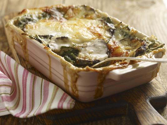 Lasagne z bakłażanem, szpinakiem i serem feta