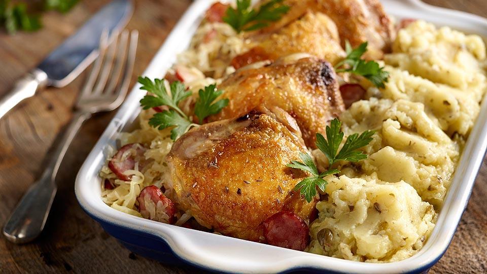 Przepis na udka kurczaka w kiszonej kapuście