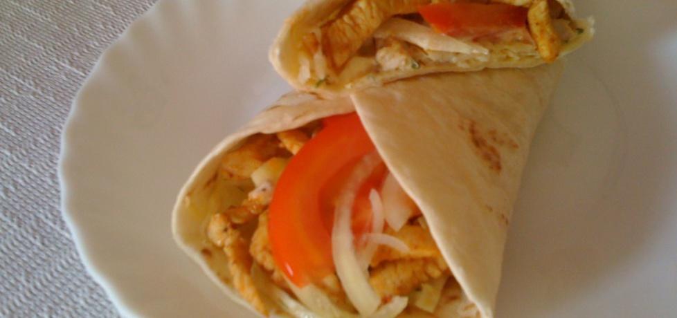Domowy kebab z kurczakiem i surówką w tortilli (autor: rjustysia ...