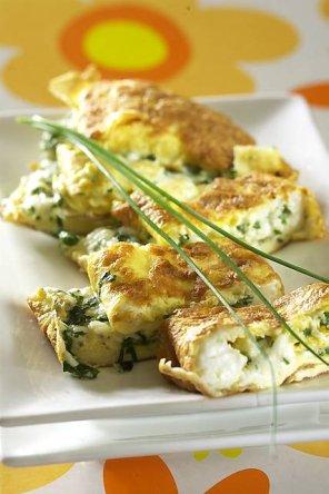 Omlet z twarożkiem wiejskim  prosty przepis i składniki