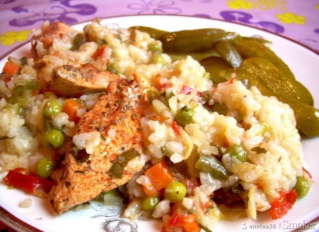 Zapiekany ryz z warzywami i piersia kurczaka
