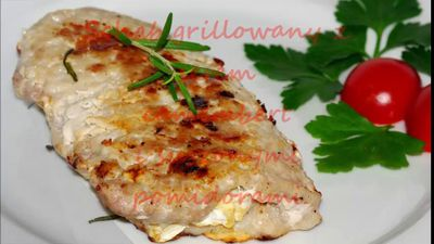 Schab grillowany z serem camembert i suszonymi pomidorami ...
