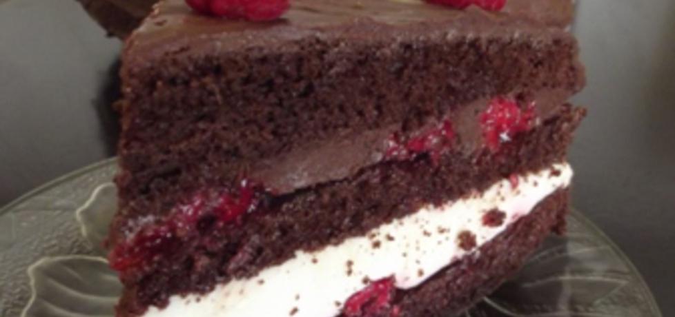 Tort czekoladowy z bitą śmietaną i malinami (autor: ilka86 ...