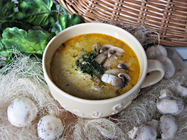 Przepis  zupa pieczarkowa z kurczakiem i serem przepis