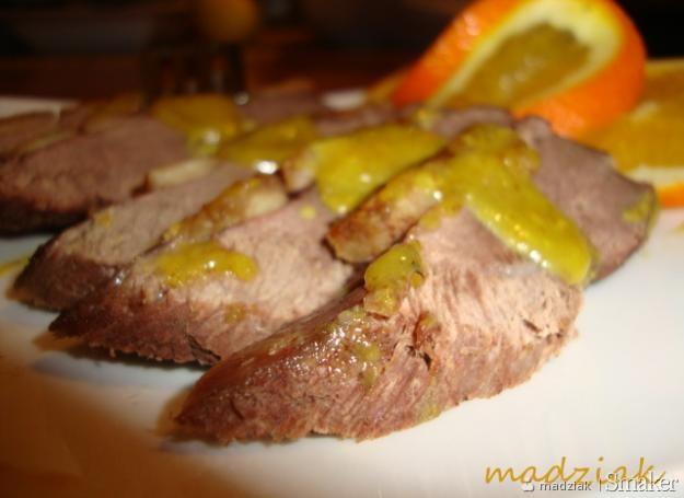 Filet z kaczki w sosie miodowo-musztardowym