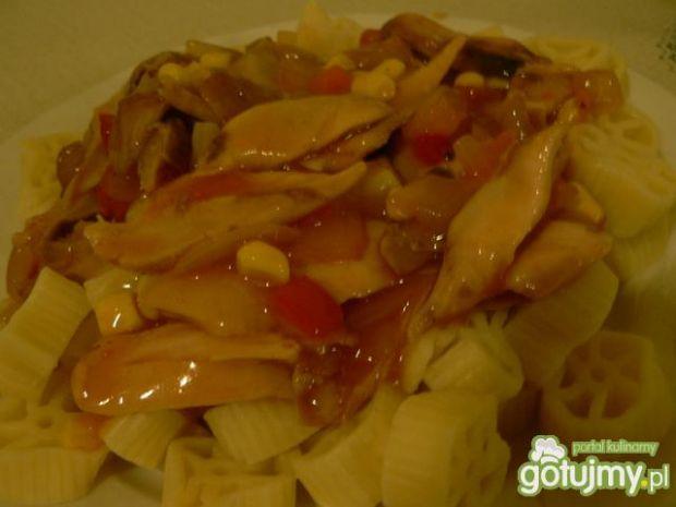 Przepis  makaron z kurczakiem w słodkim sosie przepis