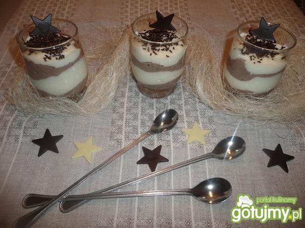 Przepis  deser z kaszy manny dwukolorowy przepis