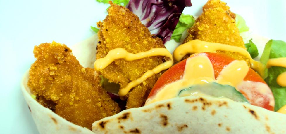 Tortilla z kurczakiem a'la kfc i sosem serowym (autor: przejs ...