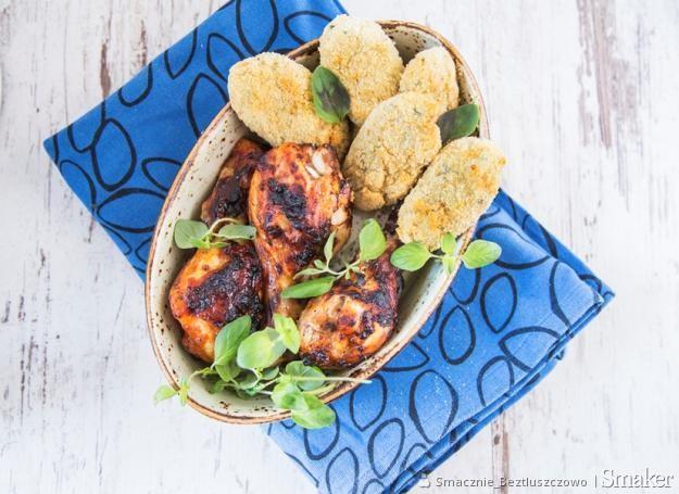 Nóżki kurczaka w marynacie bbq i krokiety z ziemniaków i parmezanu
