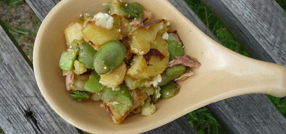 Smażony bób z fetą, ziemniakami i szynką (autor: darmiona ...