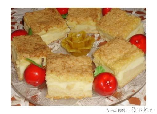 Ciasto z masą budyniową i jabłkami pod kokosową pierzynką ...