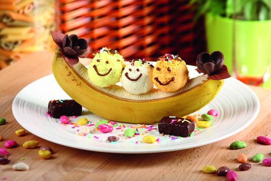 Lody z bananami kanu
