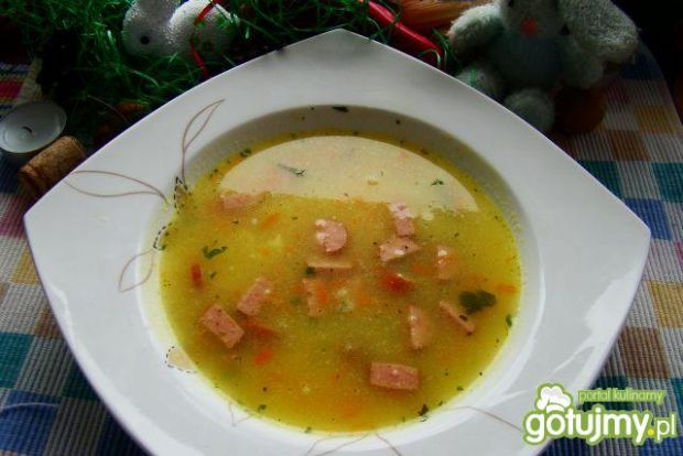 Przepis  zupa porowa z parówką przepis