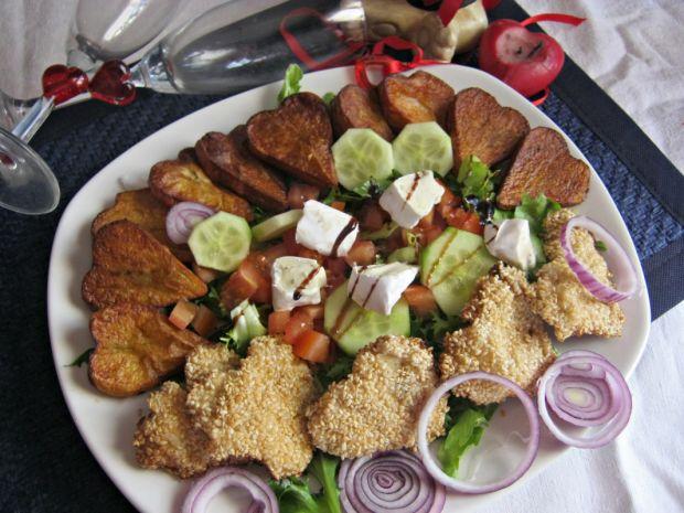 Przepis  sałatka z sezamowym kurczakiem