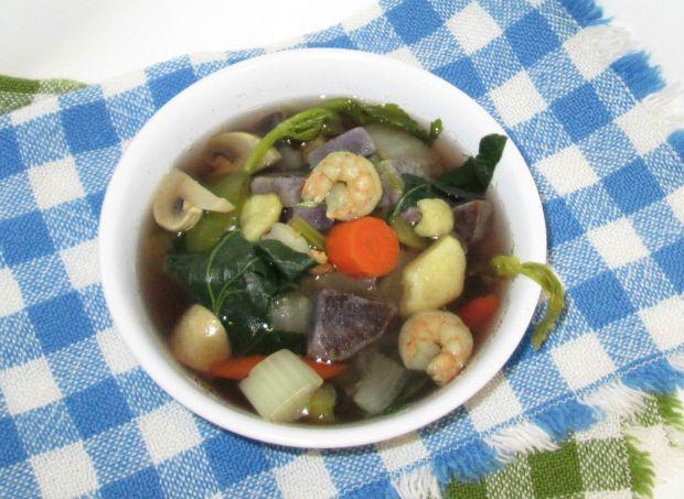 Przepis  zupa z yam, bok choy i krewetkami przepis