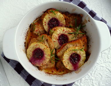 Schab zapiekany z ananasem i żurawiną