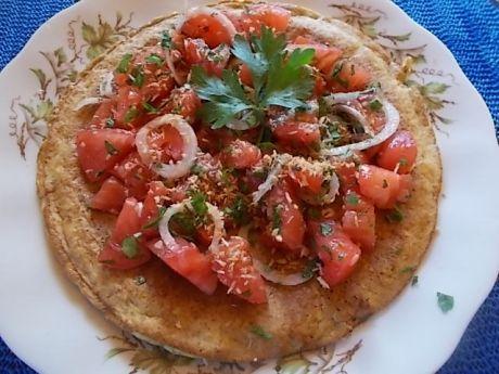 Przepis  omlet z otrębami i sałatką z pomidorów przepis