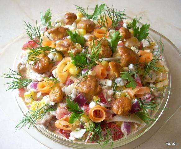 Sałatka z kurkami  przygotowanie
