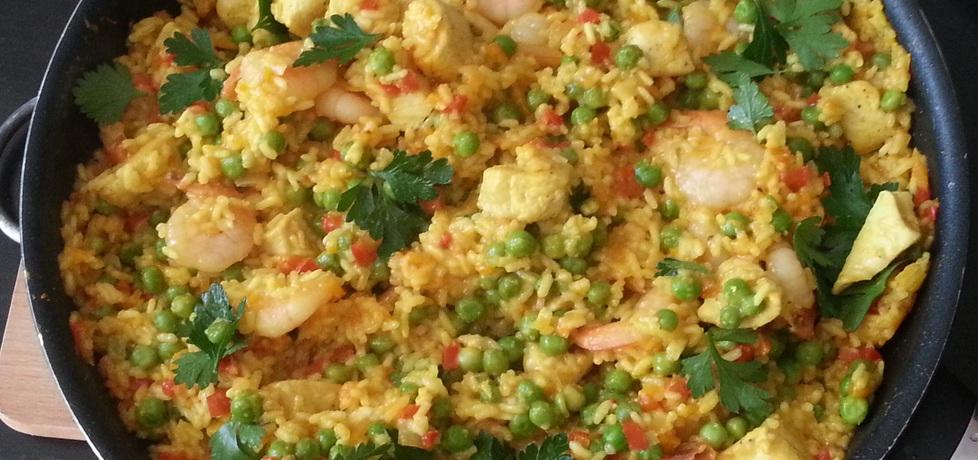 Hiszpańska paella z kurczakiem i krewetkami (autor: bertpvd ...