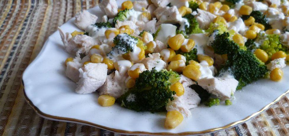 Sałatka z brokułem, kurczakiem i kukurydzą (autor: krystyna32 ...