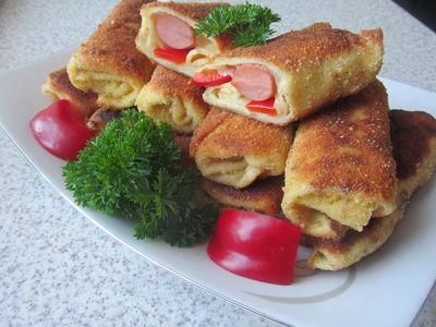 Krokiety z parówkami, papryką i serem