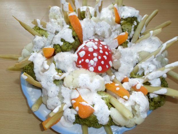 Przepis  bukiet warzyw w sosie czosnkowym przepis