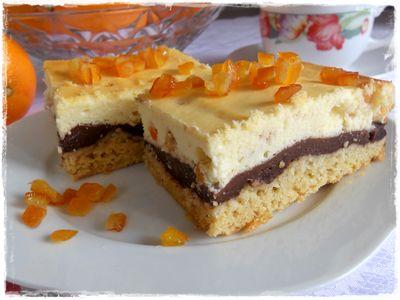 Cytrynowy sernik z budyniem czekoladowym i skórką pomarańczową