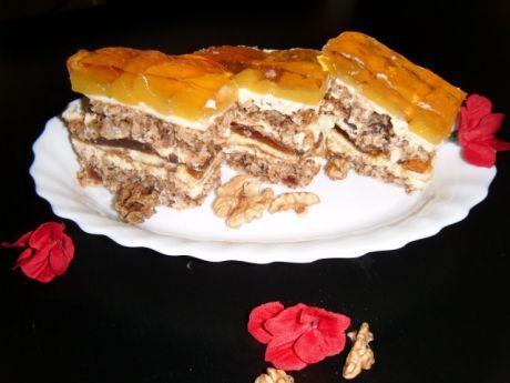 Przepis  ciasto bakaliowe z brzoskwiniami przepis