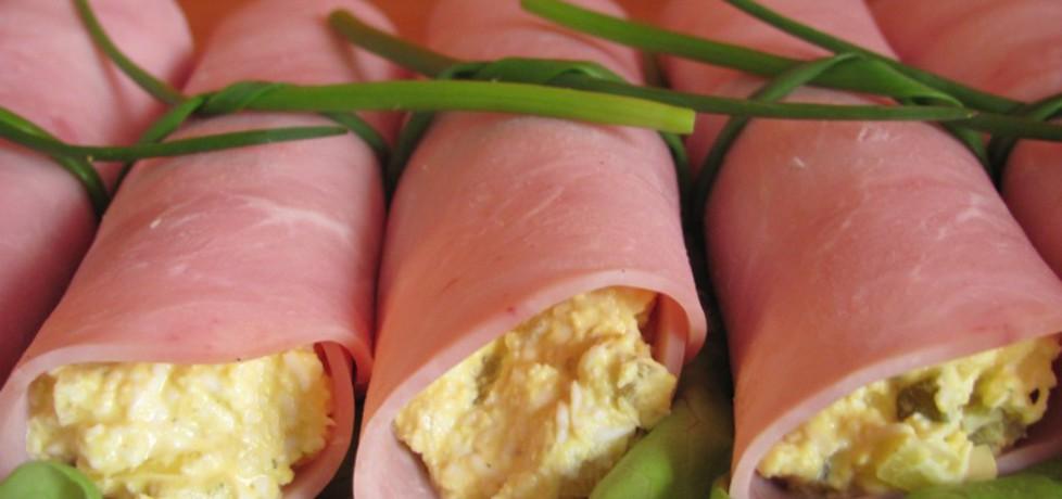 Ruloniki z szynki nadziewane pastą jajeczną. (autor: olgask ...