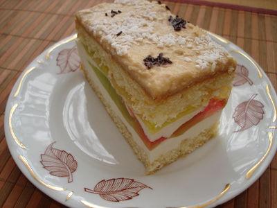 Ciasto biszkoptowe z kremem i kolorowymi galaretkami ...