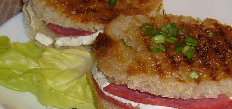 Grillowane grzanki z serem camembert i salami (autor ...