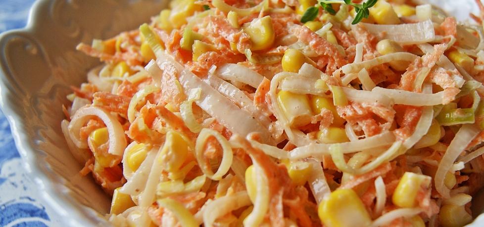 Obiadowa surówka z pora, marchwi i kukurydzy (autor: violcia ...
