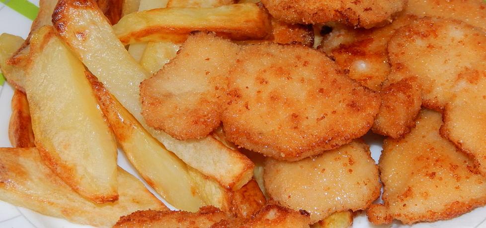 Nuggetsy z kurczaka z sosem czosnkowym i frytkami (autor: habibi ...