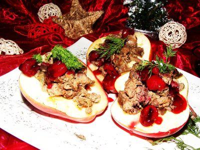 Pieczone jabłka faszerowane wątróbką muśnięte karmelizowanymi ...