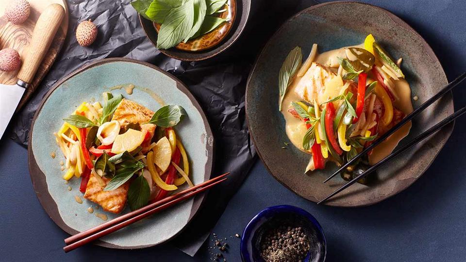 Tajski łosoś curry