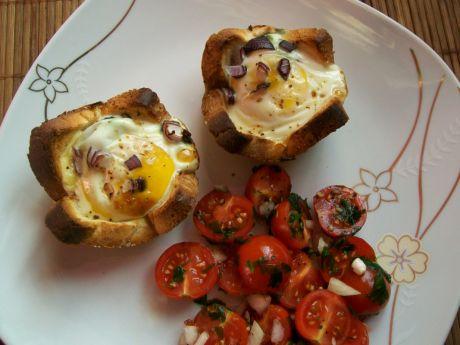 Przepis  jajka zapiekane w chlebie tostowym przepis