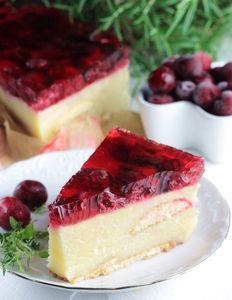 Ciasto z kaszy manny z wiśniami i galaretką – bez ...