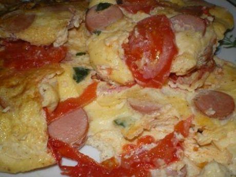 Przepis  omlet z parówkami i papryką przepis