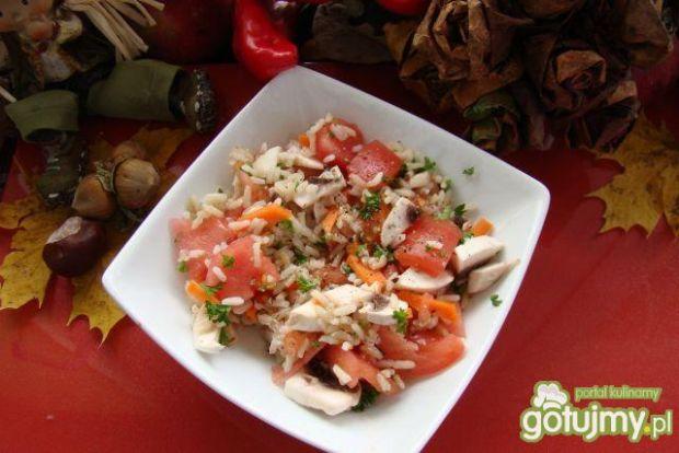 Przepis  ryżowo pomidorowa z pieczarkami przepis