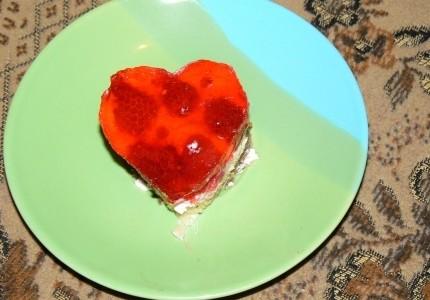 Ciasto z galaretką w kształcie serduszka