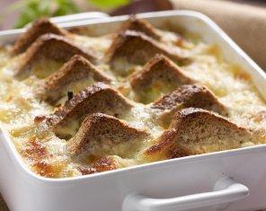 Pudding chlebowy z porem  prosty przepis i składniki