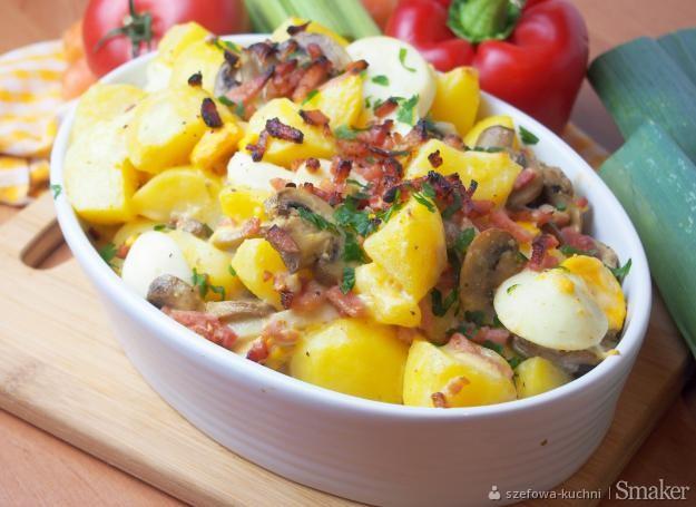 Zapiekanka po nelsońsku z ziemniakami, jajkami i boczkiem ...